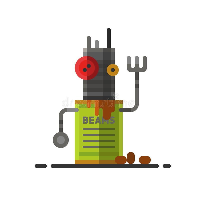 Χαριτωμένο εκλεκτής ποιότητας ρομπότ τεχνολογίας παιχνίδι επιστήμης μηχανών μελλοντικό και cyborg φουτουριστικός χαρακτήρας εικον διανυσματική απεικόνιση