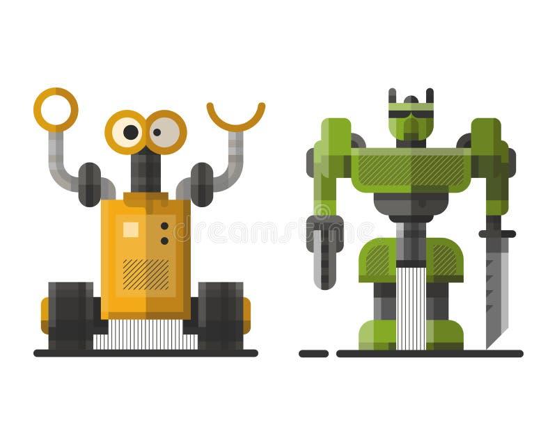 Χαριτωμένο εκλεκτής ποιότητας ρομπότ τεχνολογίας παιχνίδι επιστήμης μηχανών μελλοντικό και cyborg φουτουριστικός χαρακτήρας εικον απεικόνιση αποθεμάτων