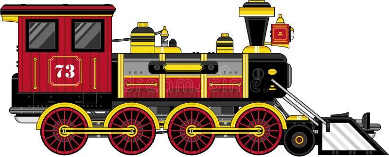 Χαριτωμένο εκλεκτής ποιότητας τραίνο κινούμενων σχεδίων διανυσματική απεικόνιση