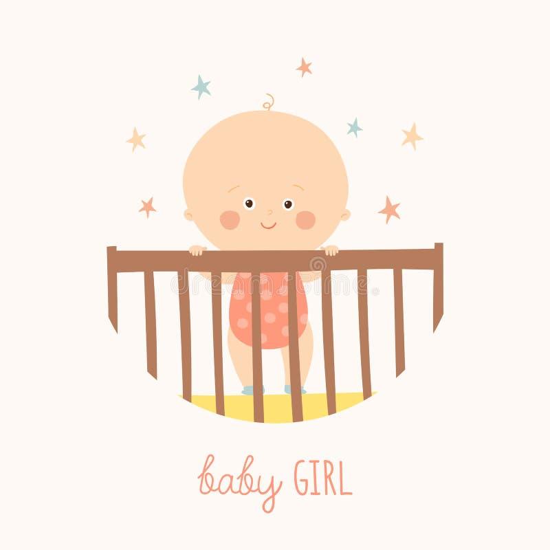 Χαριτωμένο ενός έτους βρέφος μωρών που στέκεται στο παχνί Στοιχείο σχεδίου ντους μωρών ελεύθερη απεικόνιση δικαιώματος