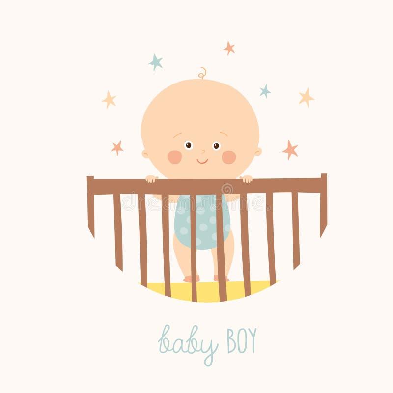 Χαριτωμένο ενός έτους βρέφος μωρών που στέκεται στο παχνί Στοιχείο σχεδίου ντους μωρών απεικόνιση αποθεμάτων