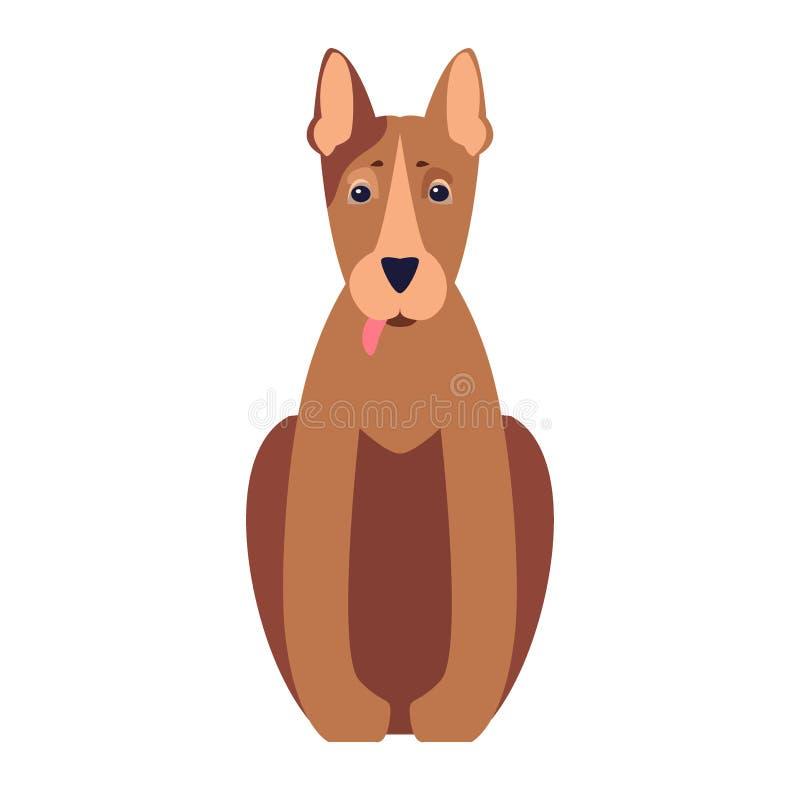 Χαριτωμένο επίπεδο διανυσματικό εικονίδιο κινούμενων σχεδίων σκυλιών πίτμπουλ απεικόνιση αποθεμάτων
