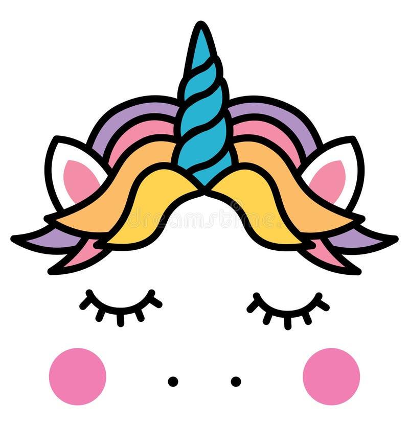 Χαριτωμένο επικεφαλής ζωηρόχρωμο ουράνιο τόξο μονοκέρων ύπνου διανυσματική απεικόνιση
