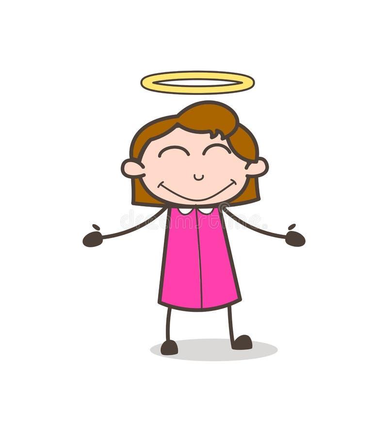 Χαριτωμένο ευτυχές κορίτσι αγγέλου με το διάνυσμα φωτοστεφάνου ελεύθερη απεικόνιση δικαιώματος