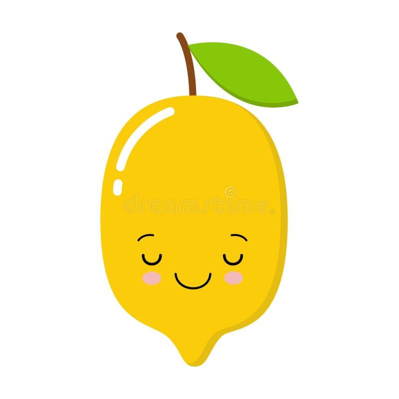 Χαριτωμένο ευτυχές λεμόνι χαμόγελου Διανυσματική σύγχρονη επίπεδη απεικόνιση χαρακτήρα κινουμένων σχεδίων ύφους o διανυσματική απεικόνιση