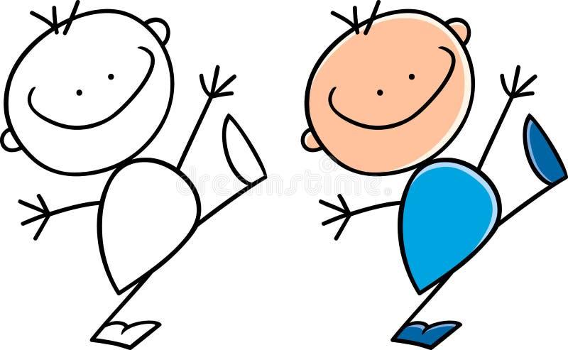 Χαριτωμένο ευτυχές μικρό παιδί κινούμενων σχεδίων ελεύθερη απεικόνιση δικαιώματος