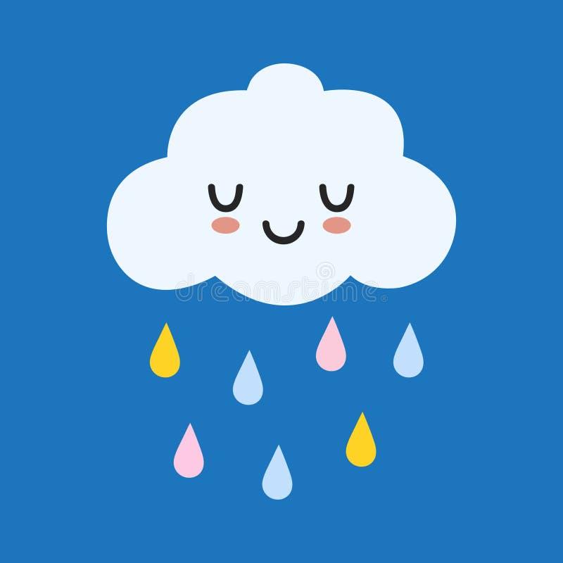 Χαριτωμένο ευτυχές σύννεφο με τις πτώσεις βροχής, την τυπωμένη ύλη ή τη διανυσματική απεικόνιση εικονιδίων απεικόνιση αποθεμάτων