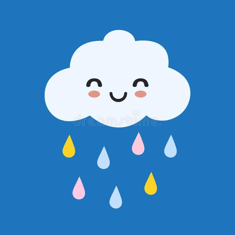 Χαριτωμένο ευτυχές σύννεφο με τις πτώσεις βροχής, την τυπωμένη ύλη ή τη διανυσματική απεικόνιση εικονιδίων ελεύθερη απεικόνιση δικαιώματος