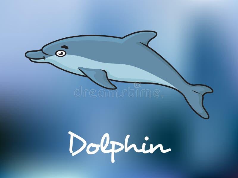 Χαριτωμένο δελφίνι κινούμενων σχεδίων στο ωκεάνιο νερό απεικόνιση αποθεμάτων