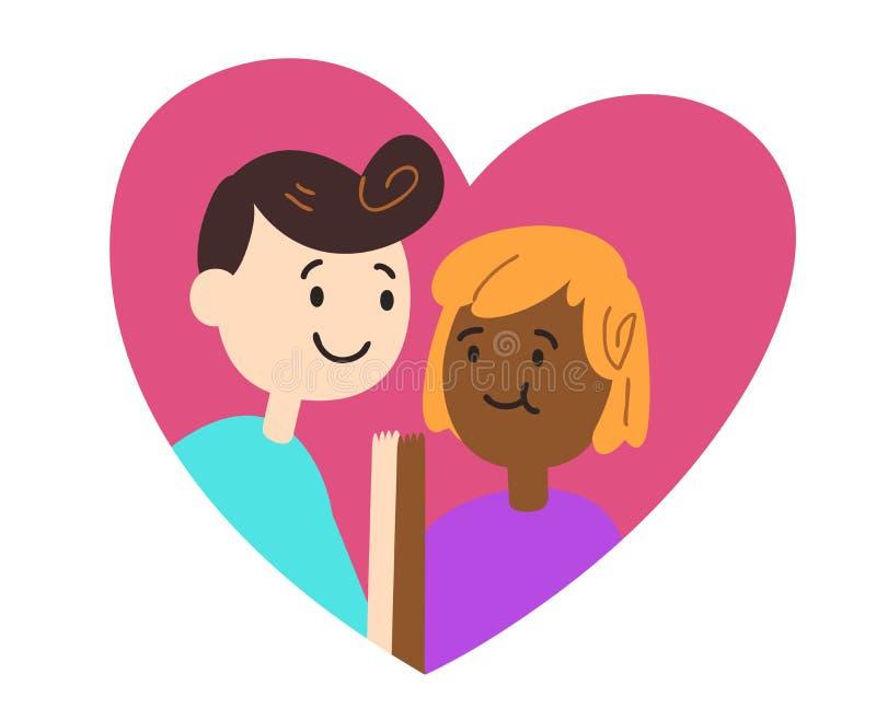Χαριτωμένο ζεύγος μέσα στα χέρια εκμετάλλευσης καρδιών διανυσματική απεικόνιση