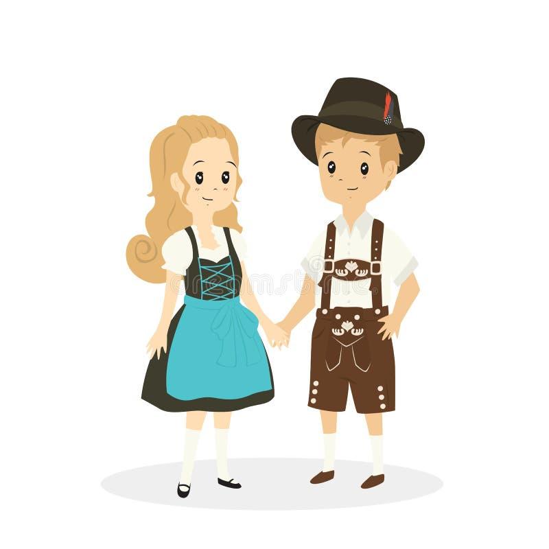 Χαριτωμένο ζεύγος που φορά το παραδοσιακό διάνυσμα φορεμάτων της Γερμανίας απεικόνιση αποθεμάτων