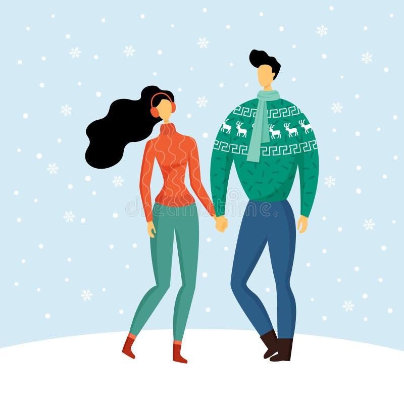 Χαριτωμένο ζεύγος στα θερμά άνετα πουλόβερ που κρατά τα χέρια, απολαμβάνοντας την αγάπη και το χιονώδη χειμώνα Ευπρόσδεκτα Χριστο διανυσματική απεικόνιση