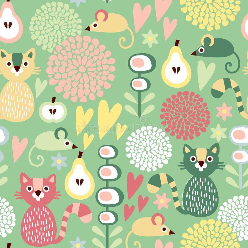 Χαριτωμένο ζωηρόχρωμο άνευ ραφής floral σχέδιο κινούμενων σχεδίων με τη γάτα και το ποντίκι ζώων διανυσματική απεικόνιση
