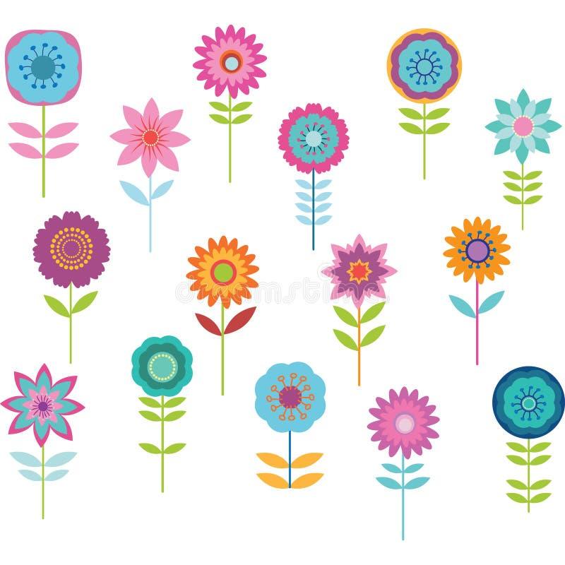 Χαριτωμένο ζωηρόχρωμο λουλούδι διανυσματική απεικόνιση