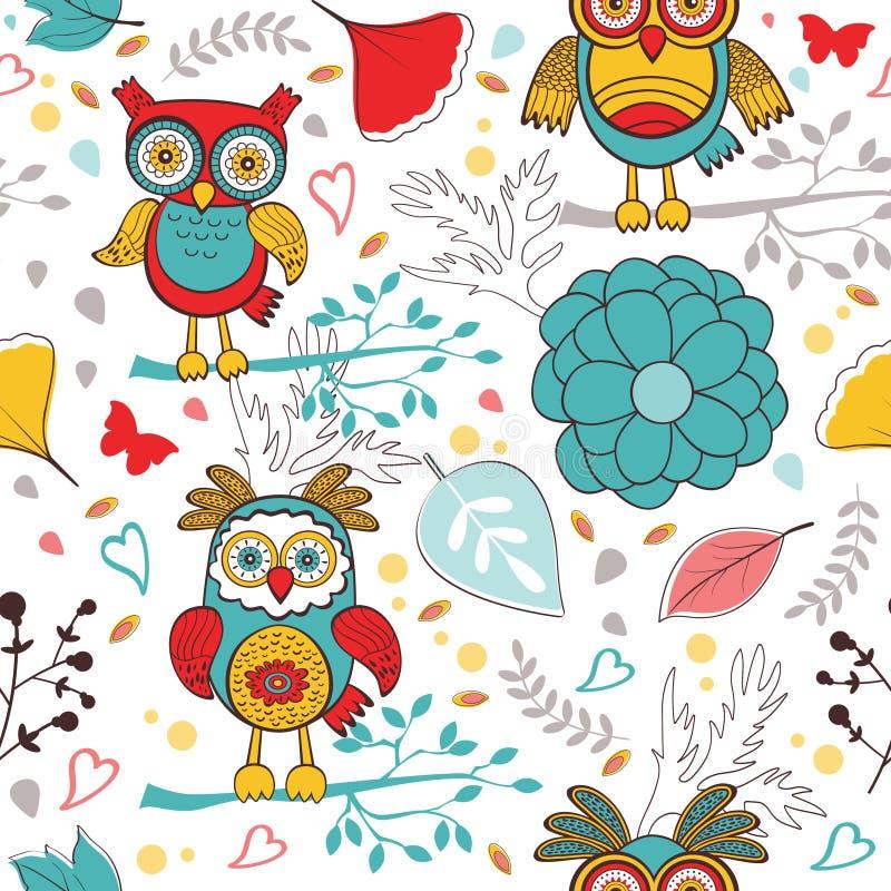 Χαριτωμένο ζωηρόχρωμο σχέδιο με τις αστεία κουκουβάγιες και τα λουλούδια διανυσματική απεικόνιση