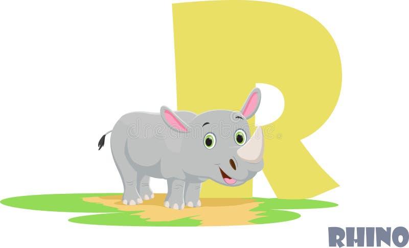 Χαριτωμένο ζωικό αλφάβητο ζωολογικών κήπων Γράμμα Ρ για το ρινόκερο στοκ φωτογραφίες