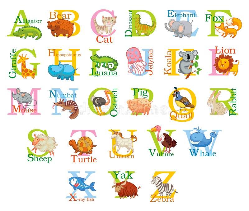 Χαριτωμένο ζωικό αλφάβητο ελεύθερη απεικόνιση δικαιώματος