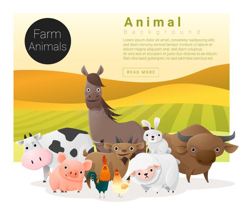 Χαριτωμένο ζωικό οικογενειακό υπόβαθρο με τα ζώα αγροκτημάτων ελεύθερη απεικόνιση δικαιώματος