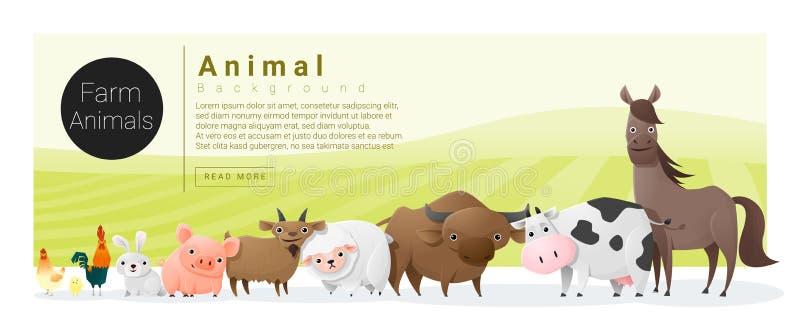Χαριτωμένο ζωικό οικογενειακό υπόβαθρο με τα ζώα αγροκτημάτων απεικόνιση αποθεμάτων