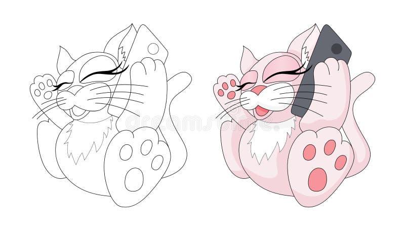 Χαριτωμένο ζώο κινούμενων σχεδίων Παιδαριώδες γατάκι με το τηλέφωνο E απεικόνιση αποθεμάτων