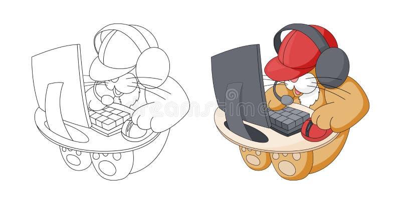 Χαριτωμένο ζώο κινούμενων σχεδίων Παιχνίδι γατακιών συνεδρίασης στο παιχνίδι στον υπολογιστή E ελεύθερη απεικόνιση δικαιώματος