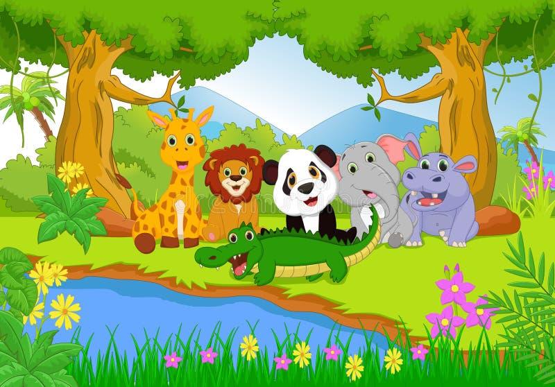 Χαριτωμένο ζώο σαφάρι στη ζούγκλα απεικόνιση αποθεμάτων