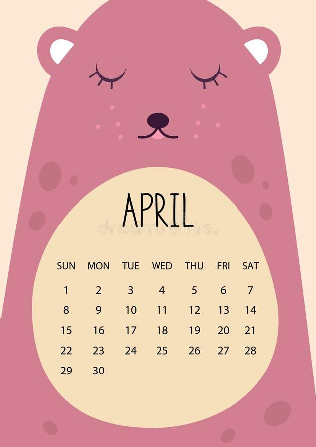 Χαριτωμένο ημερολογιακό σχέδιο μήνα για το έτος του 2018 apse A4 σχήμα διάνυσμα απεικόνιση αποθεμάτων