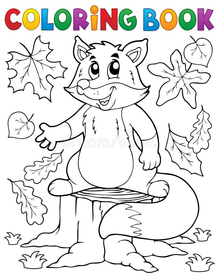 Χαριτωμένο θέμα 1 αλεπούδων βιβλίων χρωματισμού διανυσματική απεικόνιση