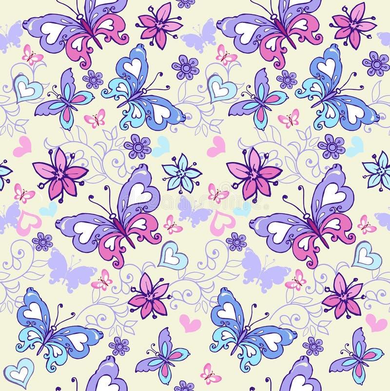 Χαριτωμένο θερινό άνευ ραφής σχέδιο με τις πεταλούδες και τις καρδιές Εκλεκτής ποιότητας άνευ ραφής διακόσμηση λουλουδιών στα μπλ διανυσματική απεικόνιση