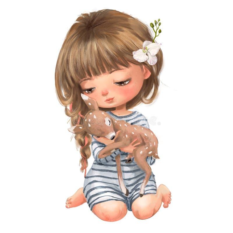 Χαριτωμένο θερινό κορίτσι κινούμενων σχεδίων με λίγο fawn ελεύθερη απεικόνιση δικαιώματος