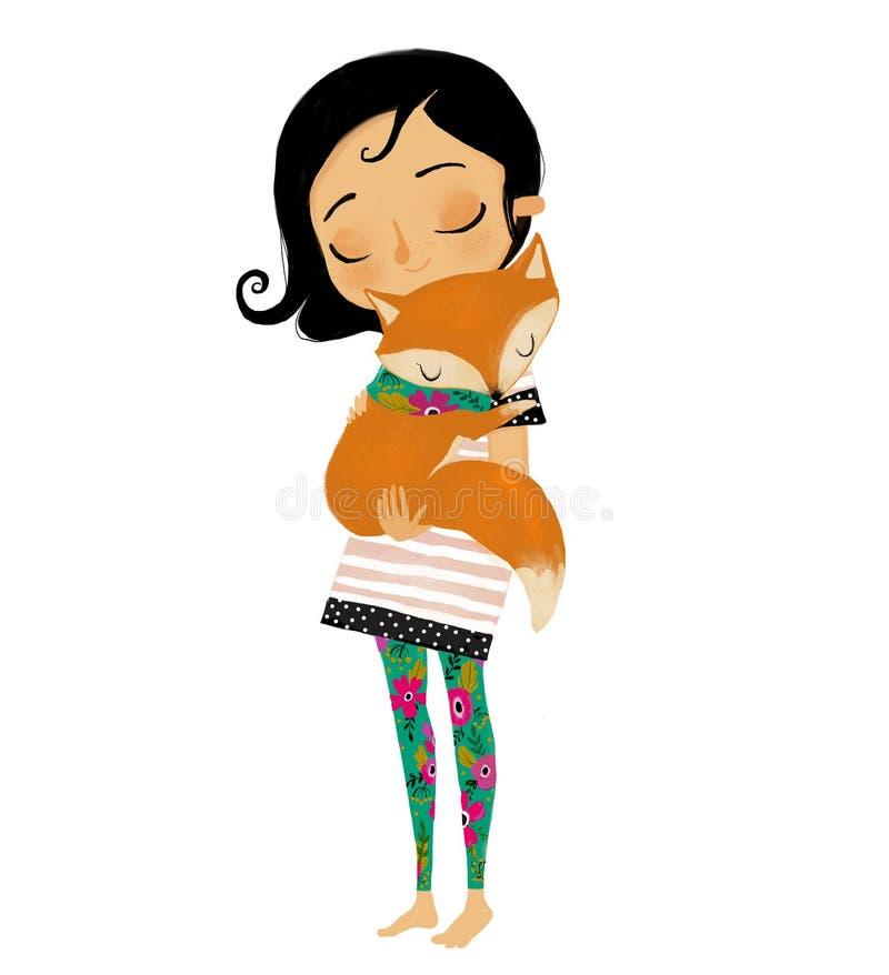 Χαριτωμένο θερινό κορίτσι με την αλεπού διανυσματική απεικόνιση