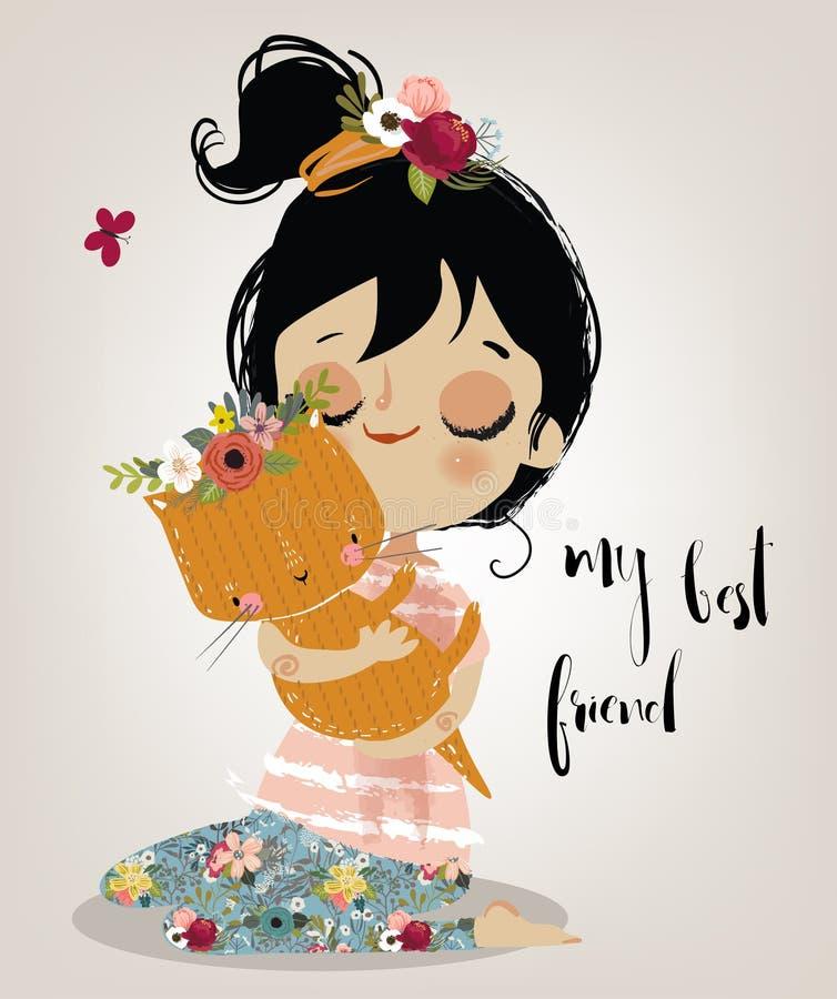 Χαριτωμένο θερινό κορίτσι με τη γάτα διανυσματική απεικόνιση