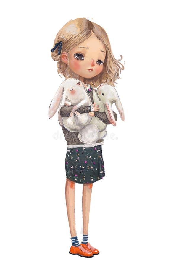 Χαριτωμένο θερινό κορίτσι με τους λαγούς ελεύθερη απεικόνιση δικαιώματος
