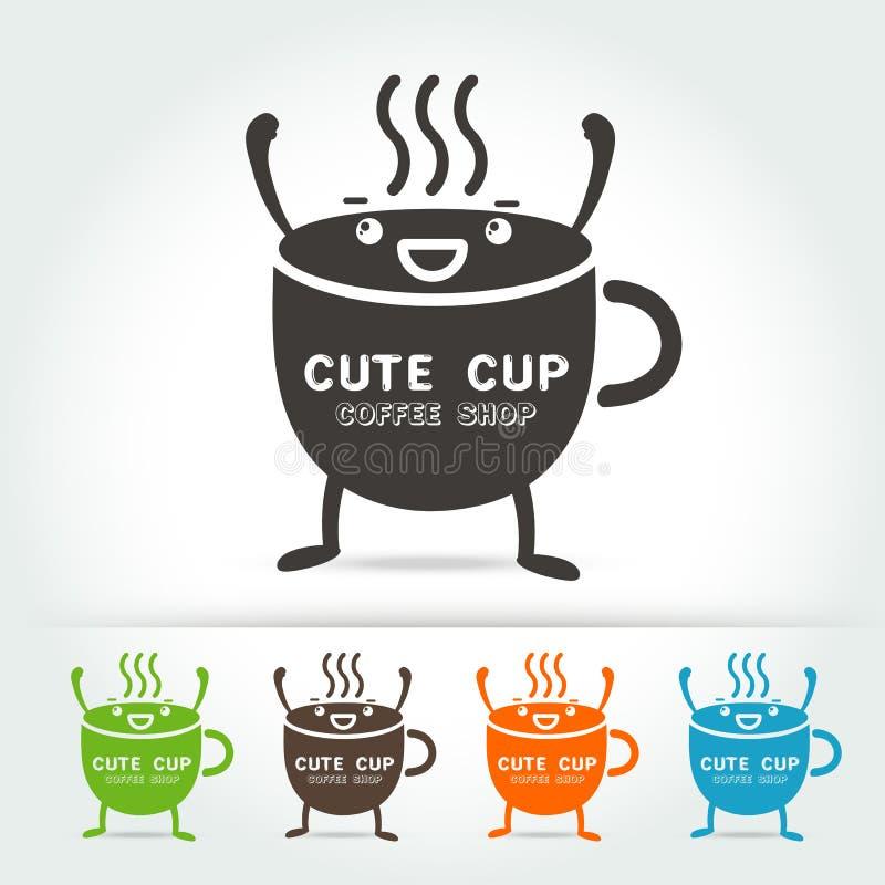 Χαριτωμένο διάνυσμα λογότυπων φλυτζανιών καφέ στοκ εικόνα