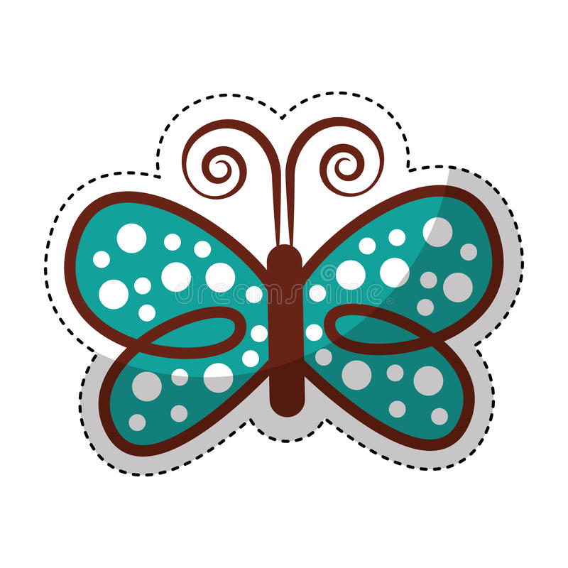 Χαριτωμένο διακοσμητικό εικονίδιο πεταλούδων ελεύθερη απεικόνιση δικαιώματος
