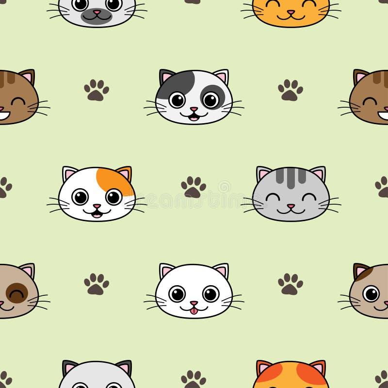 Χαριτωμένο διανυσματικό άνευ ραφής σχέδιο με τις γάτες ελεύθερη απεικόνιση δικαιώματος