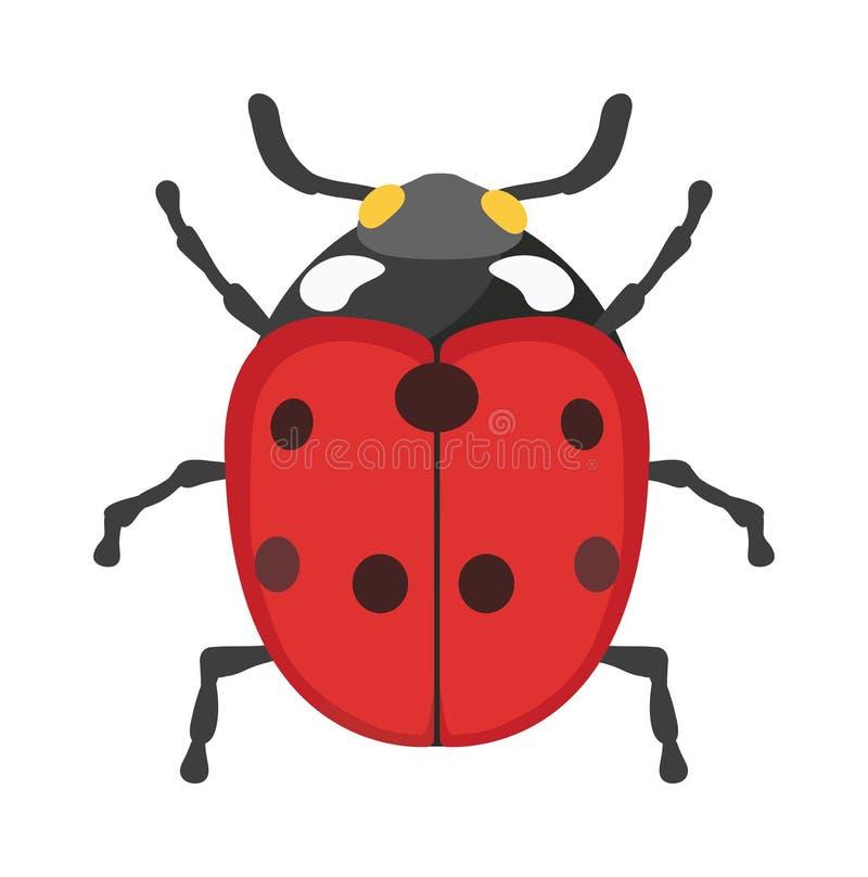 Χαριτωμένο διανυσματικό έντομο κινούμενων σχεδίων ladybug που απομονώνεται στο άσπρο υπόβαθρο ελεύθερη απεικόνιση δικαιώματος