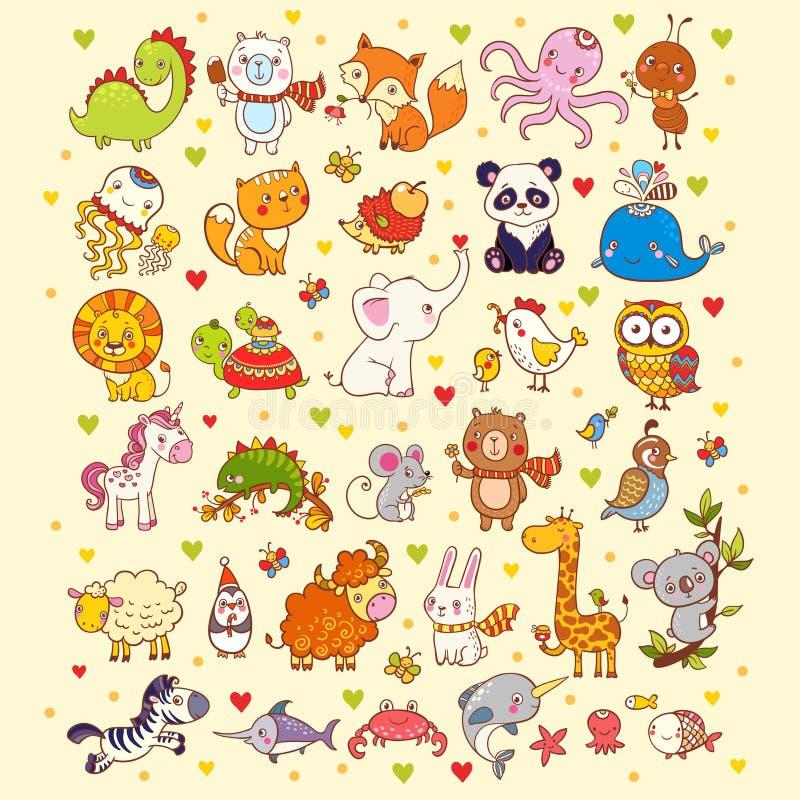 Χαριτωμένο διανυσματικό σύνολο ζώων ελεύθερη απεικόνιση δικαιώματος