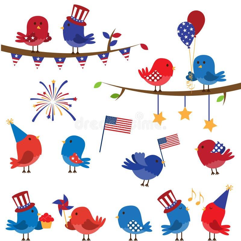 Χαριτωμένο διανυσματικό σύνολο πατριωτικού ή τέταρτο Themed των πουλιών Ιουλίου απεικόνιση αποθεμάτων