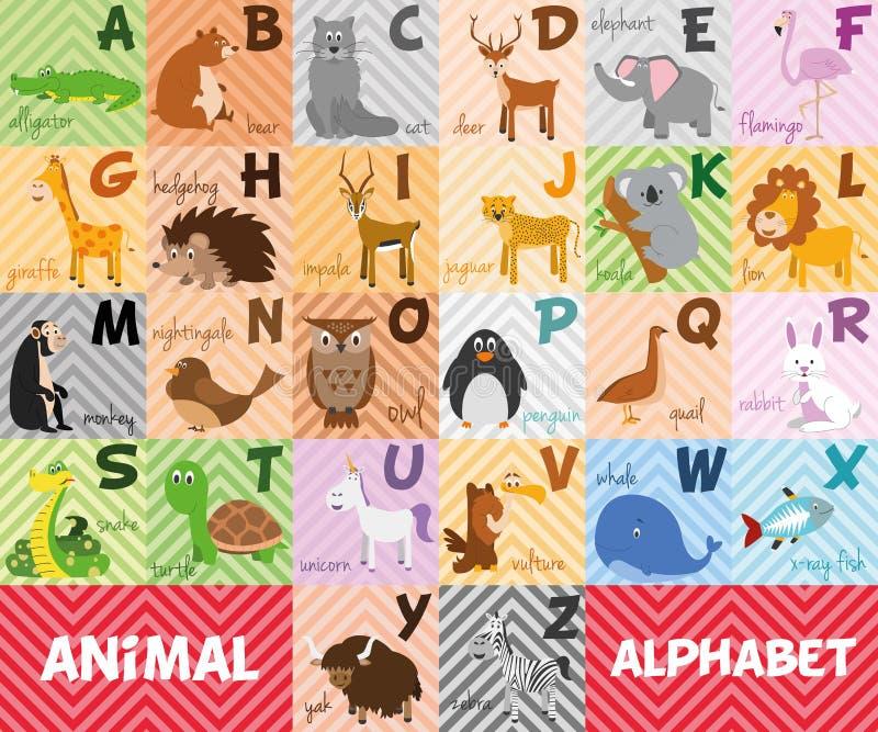 Χαριτωμένο διευκρινισμένο ζωολογικός κήπος αλφάβητο κινούμενων σχεδίων με τα αστεία ζώα το αλφάβητο αγγλικά παγώνει τις ελαφριές  ελεύθερη απεικόνιση δικαιώματος