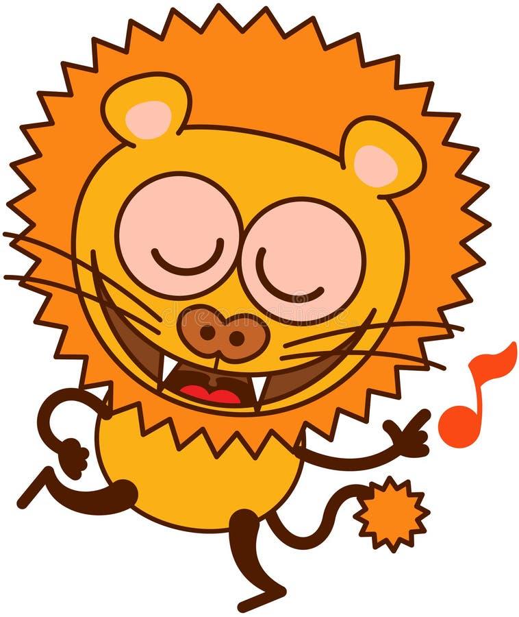 Χαριτωμένο λιοντάρι που χορεύει και που τραγουδά ενθουσιωδώς ελεύθερη απεικόνιση δικαιώματος
