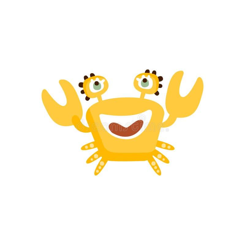 Χαριτωμένο κίτρινο καβούρι, αστεία συρμένη χέρι διανυσματική απεικόνιση πλασμάτων θάλασσας ελεύθερη απεικόνιση δικαιώματος