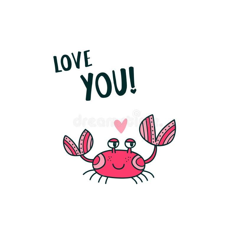 Χαριτωμένο καβούρι που λέει την αγάπη εσείς απεικόνιση αποθεμάτων