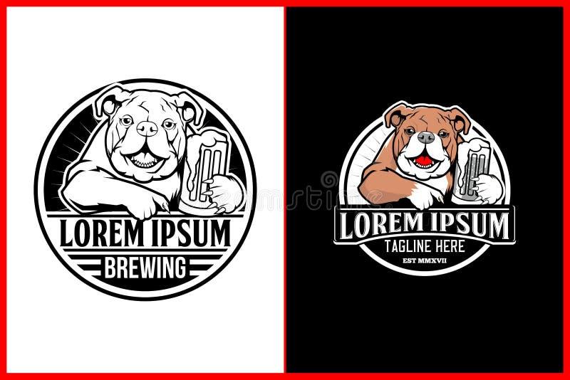 Χαριτωμένο και φιλικό μπουλντόγκ με το διανυσματικό πρότυπο λογότυπων μπύρας διανυσματική απεικόνιση