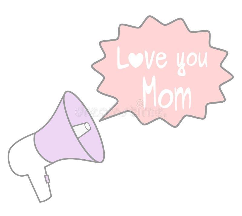 Χαριτωμένο καλό megaphone κινούμενων σχεδίων με τη λεκτική φυσαλίδα με την αγάπη εσείς mom γράφοντας χέρι που σύρεται αναφέρει τη διανυσματική απεικόνιση