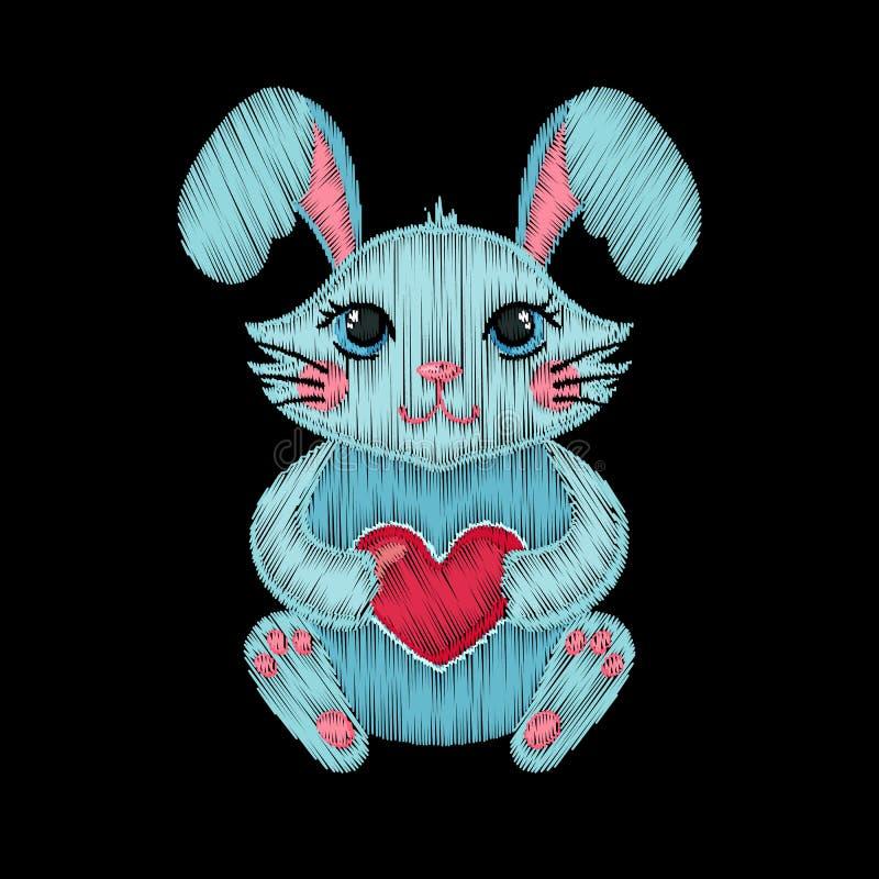 Χαριτωμένο κεντημένο κουνέλι με την καρδιά για το σχέδιο μόδας παιδιών ελεύθερη απεικόνιση δικαιώματος