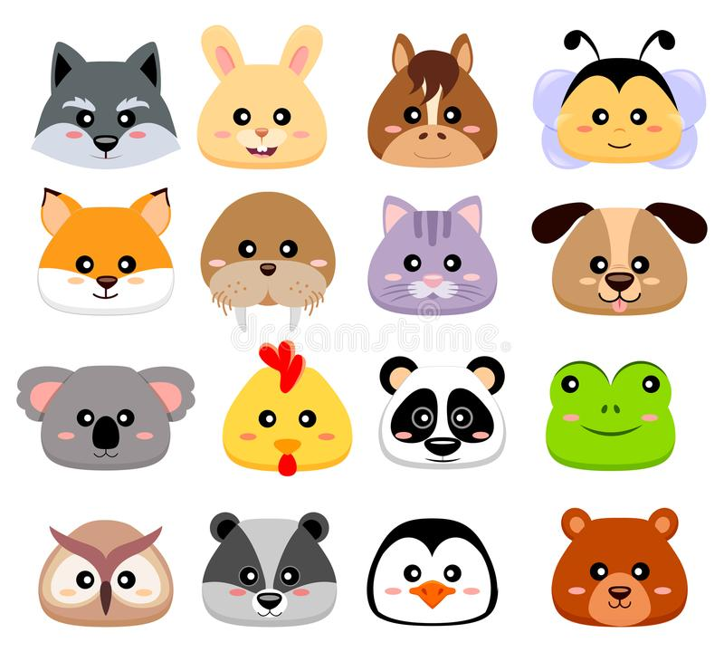Χαριτωμένο κεφάλι ζώων κινούμενων σχεδίων Λύκος, λαγοί, άλογο, μέλισσα, αλεπού, οδόβαινος, γάτα, σκυλί, koala, κοτόπουλο, panda,  ελεύθερη απεικόνιση δικαιώματος