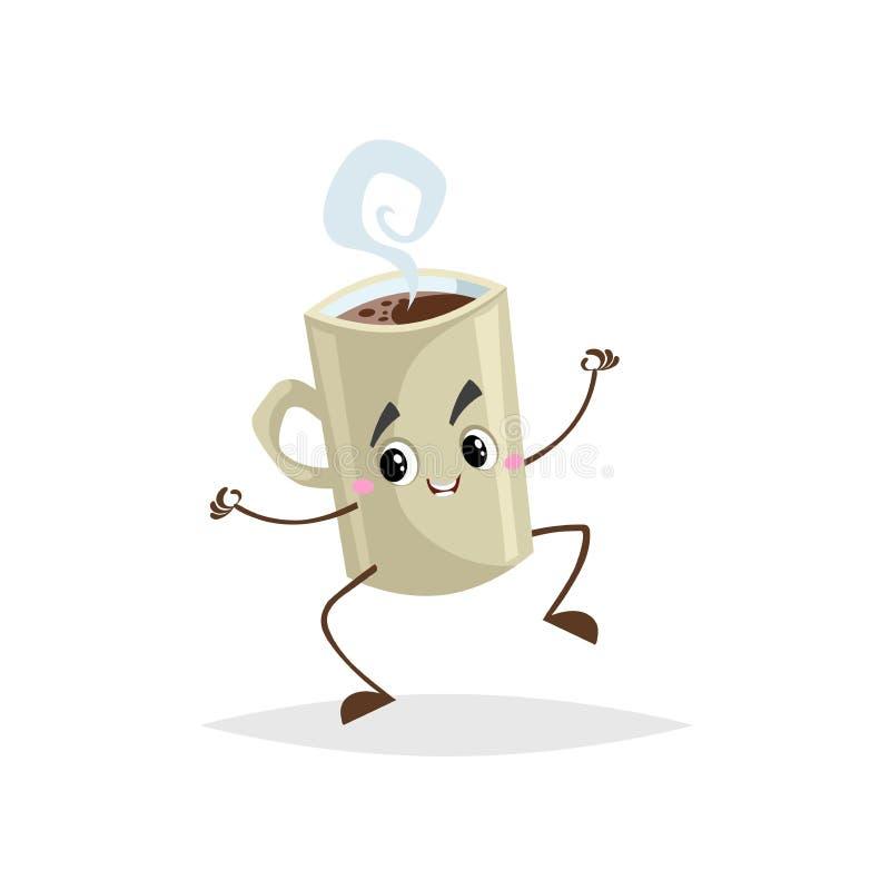 Χαριτωμένο κινούμενων σχεδίων άλμα χαρακτήρα φλυτζανιών καφέ μπεζ Εξανθρωπισμένη κούπα με το καυτό ποτό Μασκότ προγευμάτων πρωινο ελεύθερη απεικόνιση δικαιώματος
