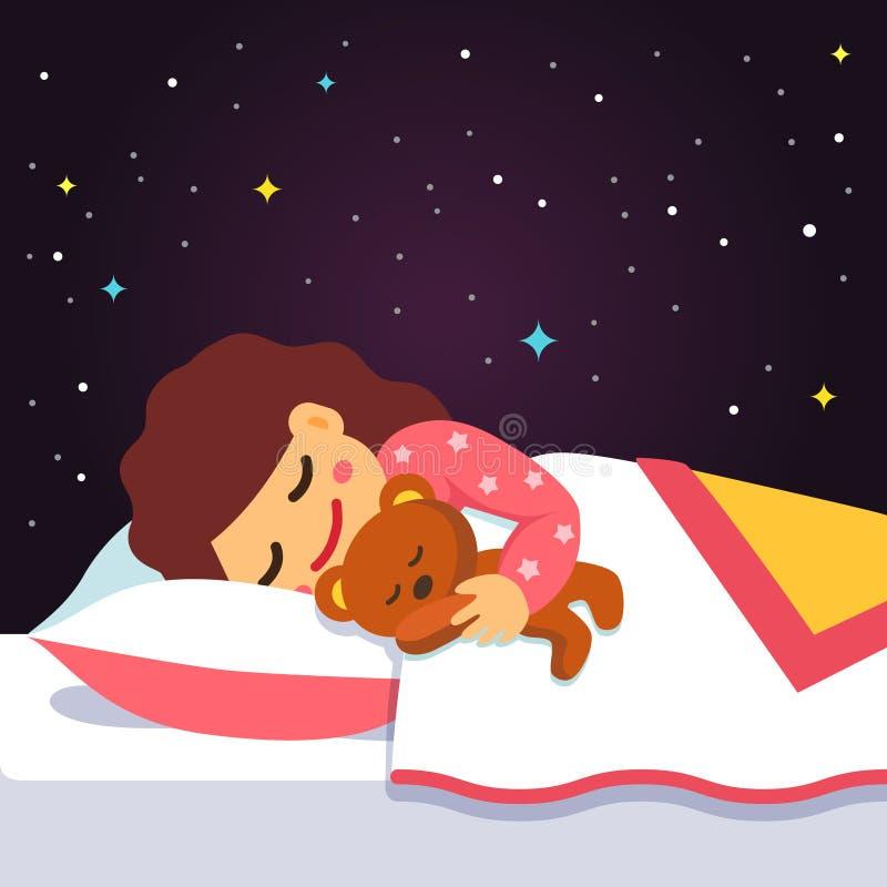 Χαριτωμένο κοισμένος και ονειρεμένος κορίτσι με τη teddy αρκούδα απεικόνιση αποθεμάτων