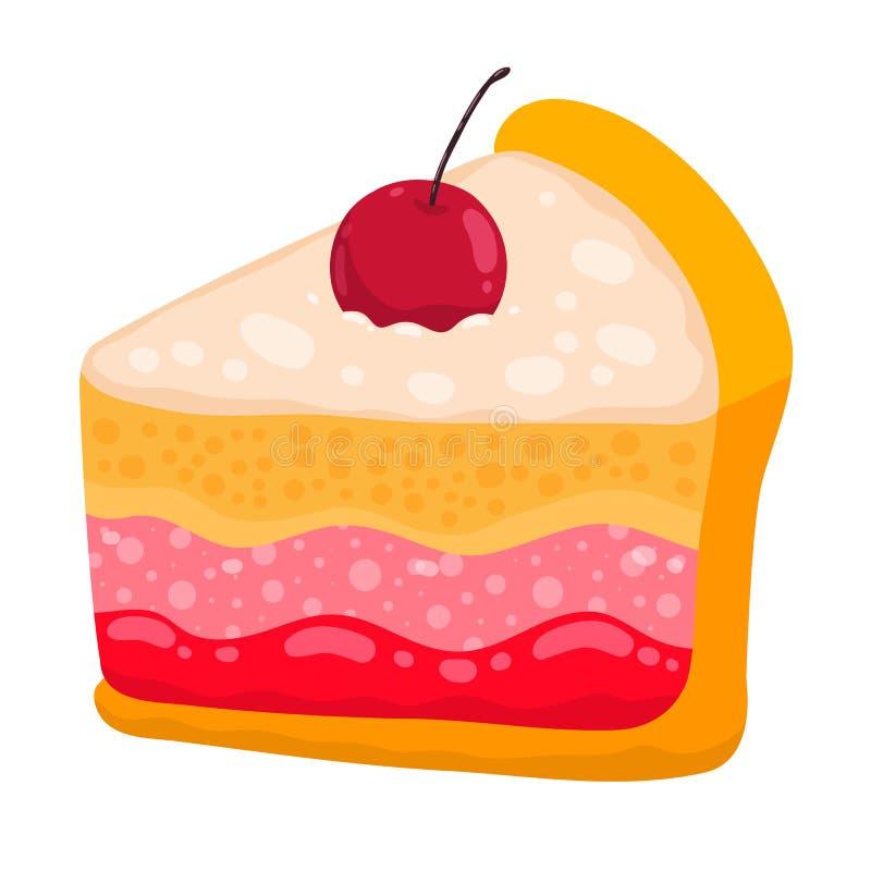 Χαριτωμένο κομμάτι κέικ κινούμενων σχεδίων διανυσματικό απεικόνιση αποθεμάτων